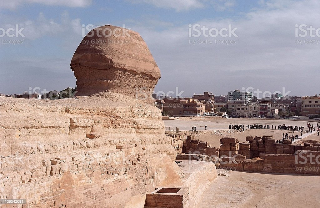 Sphinx and Cairo royalty-free stock photo