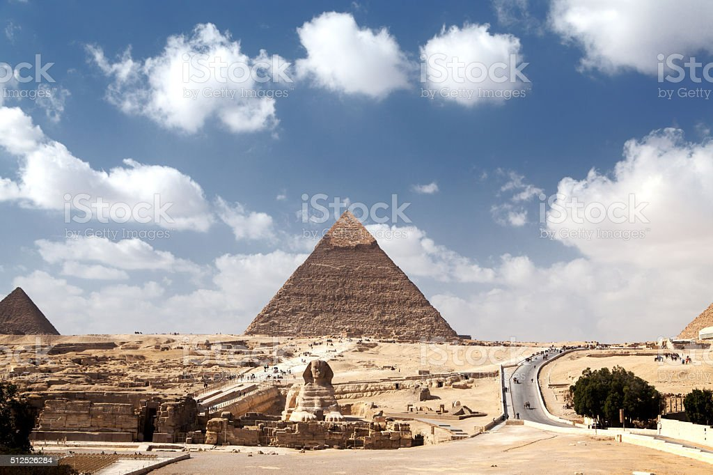 Sphinx and Khafre Pyramid stock photo