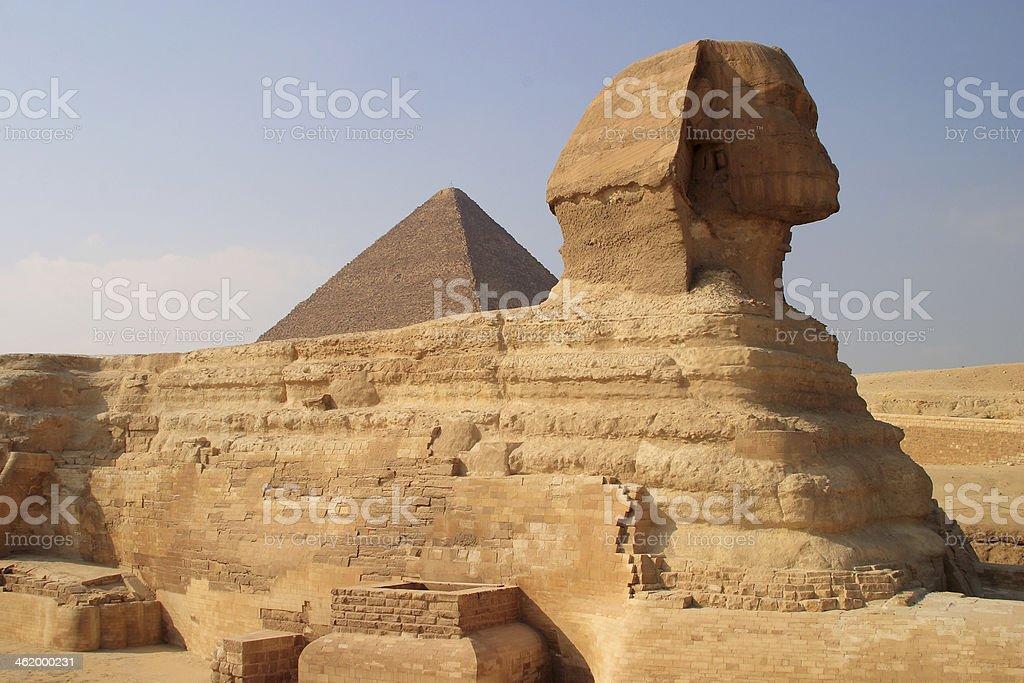 Sphinx and pyramid, Giza, Cairo, Egypt. royalty-free stock photo