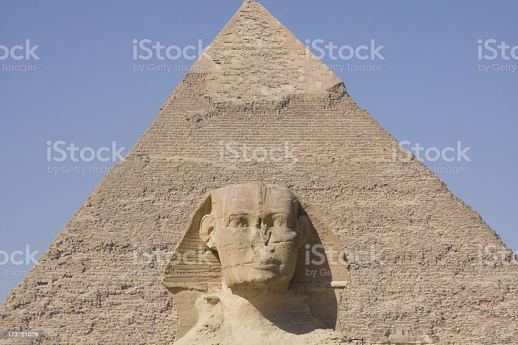 Sphinx and pyramid royalty-free stock photo