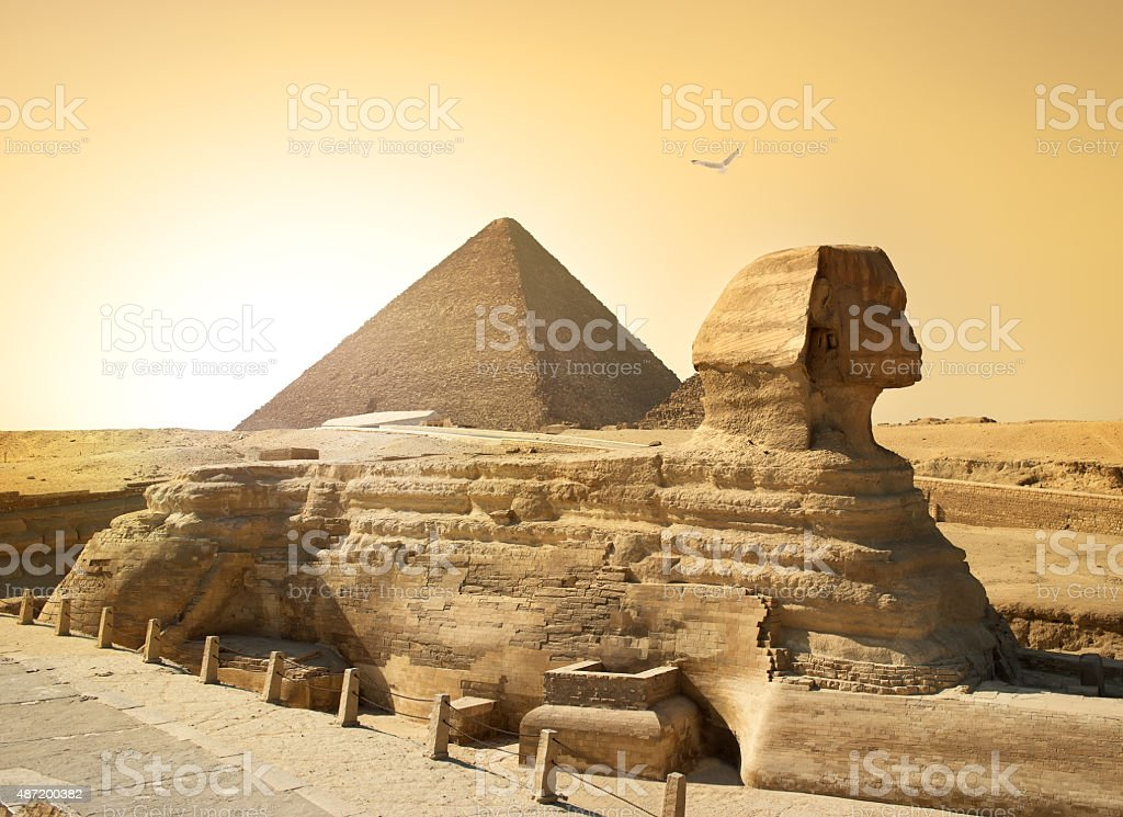 Sphinx and pyramid stock photo