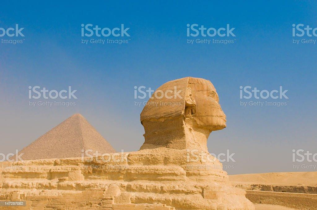 Sphinx and pyramids at Giza, Cairo royalty-free stock photo