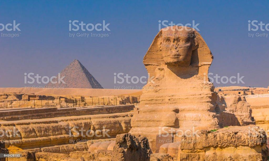 Sphinx and pyramids at Giza, Cairo stock photo