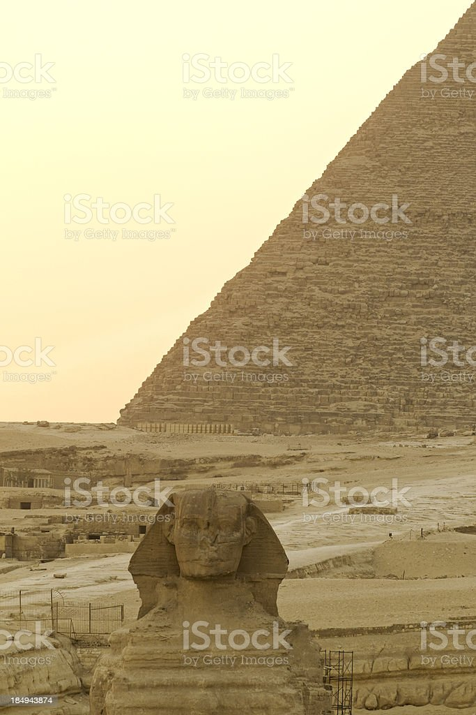 Sphinx and pyramids of Gizeh royalty-free stock photo