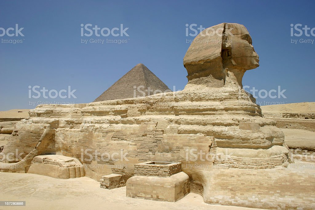 Sphinx and Pyramids once more stock photo