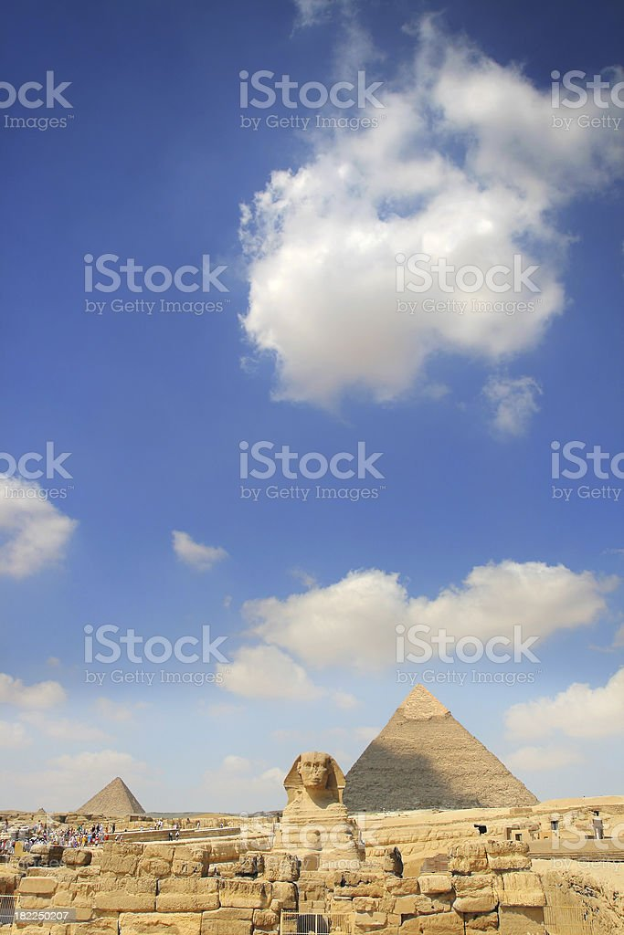 Sphinx and pyramids royalty-free stock photo
