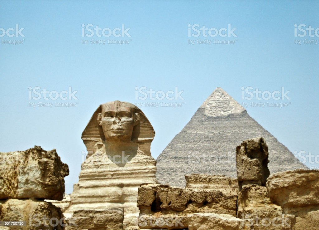 Sphinx and the Great pyramid in Egypt - Giza stock photo
