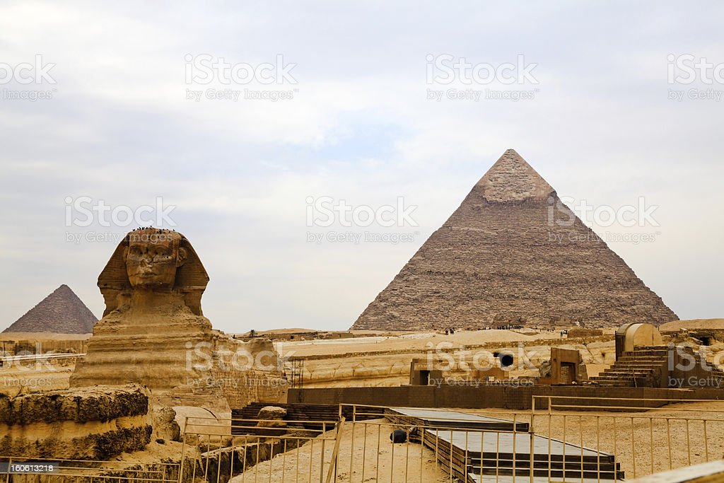 sphinx and the great pyramids stock photo