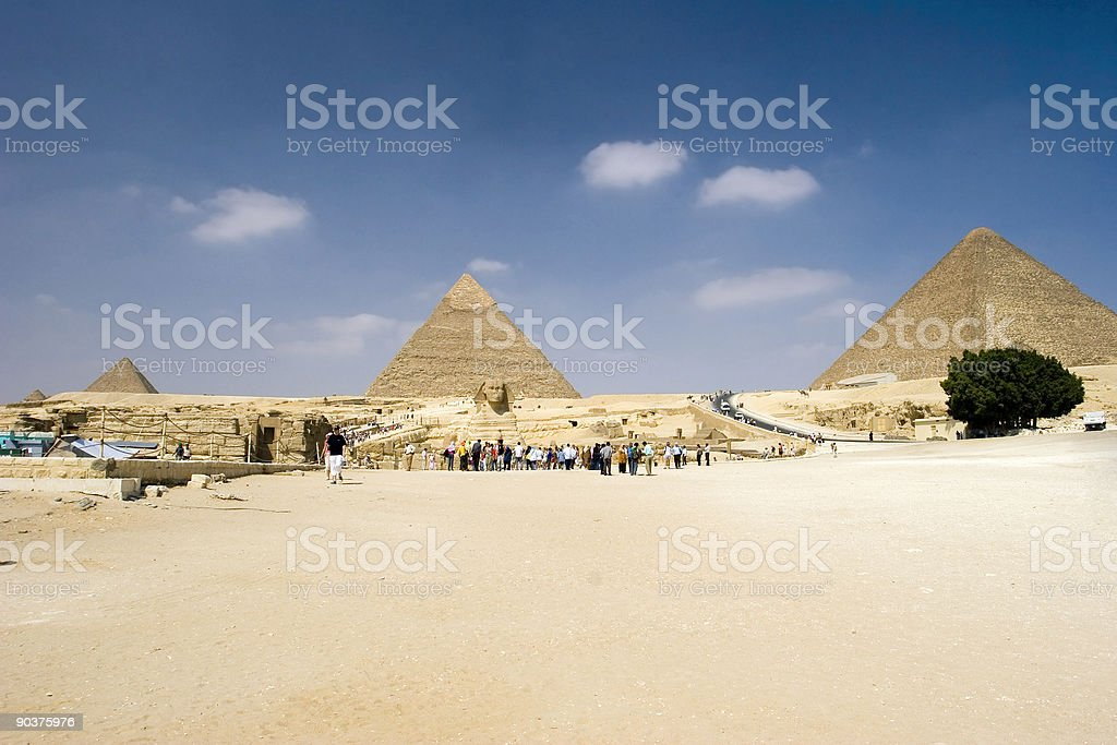 Sphinx and the Pyramids stock photo