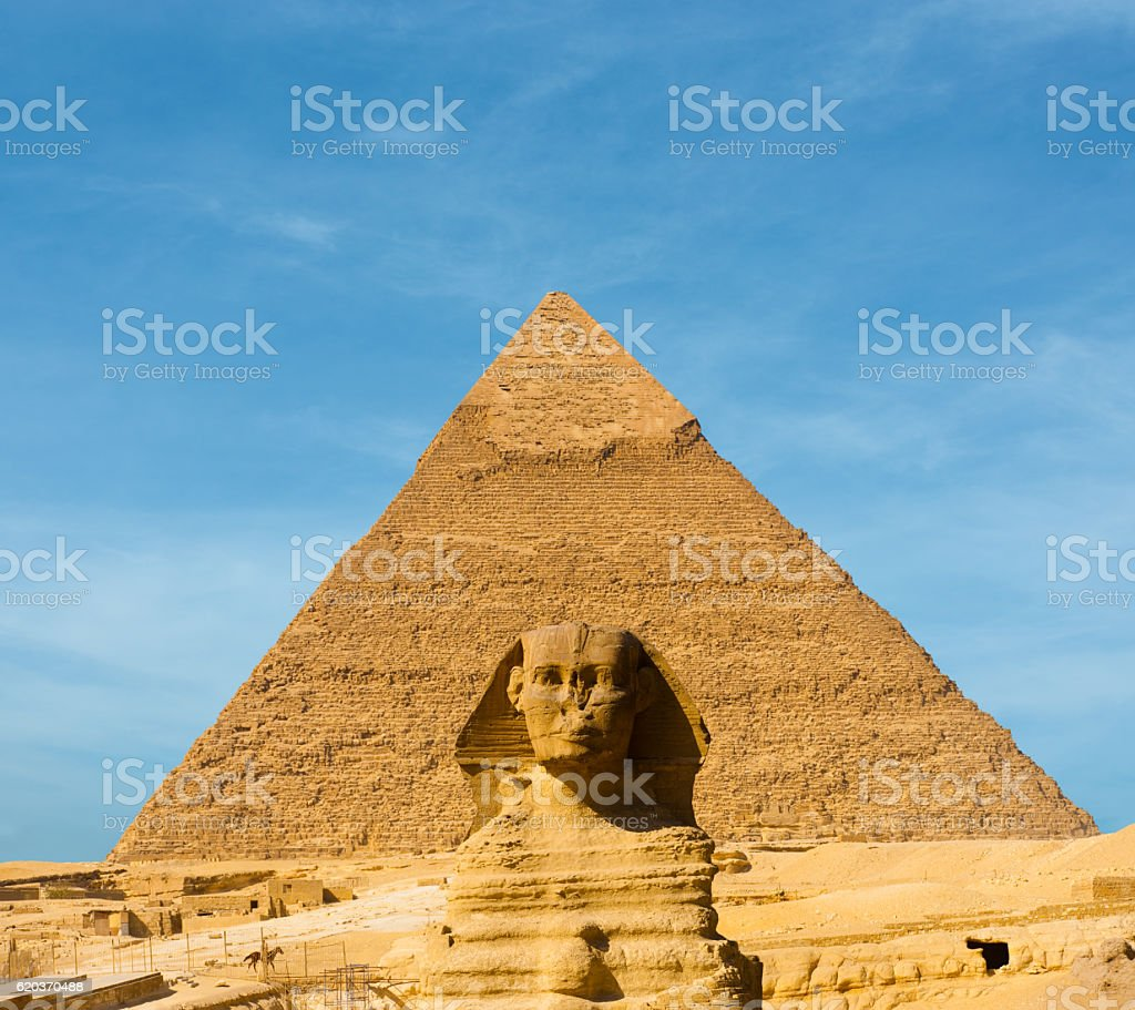 Sphinx Face Pyramid Khafre Centered Blue Sky stock photo