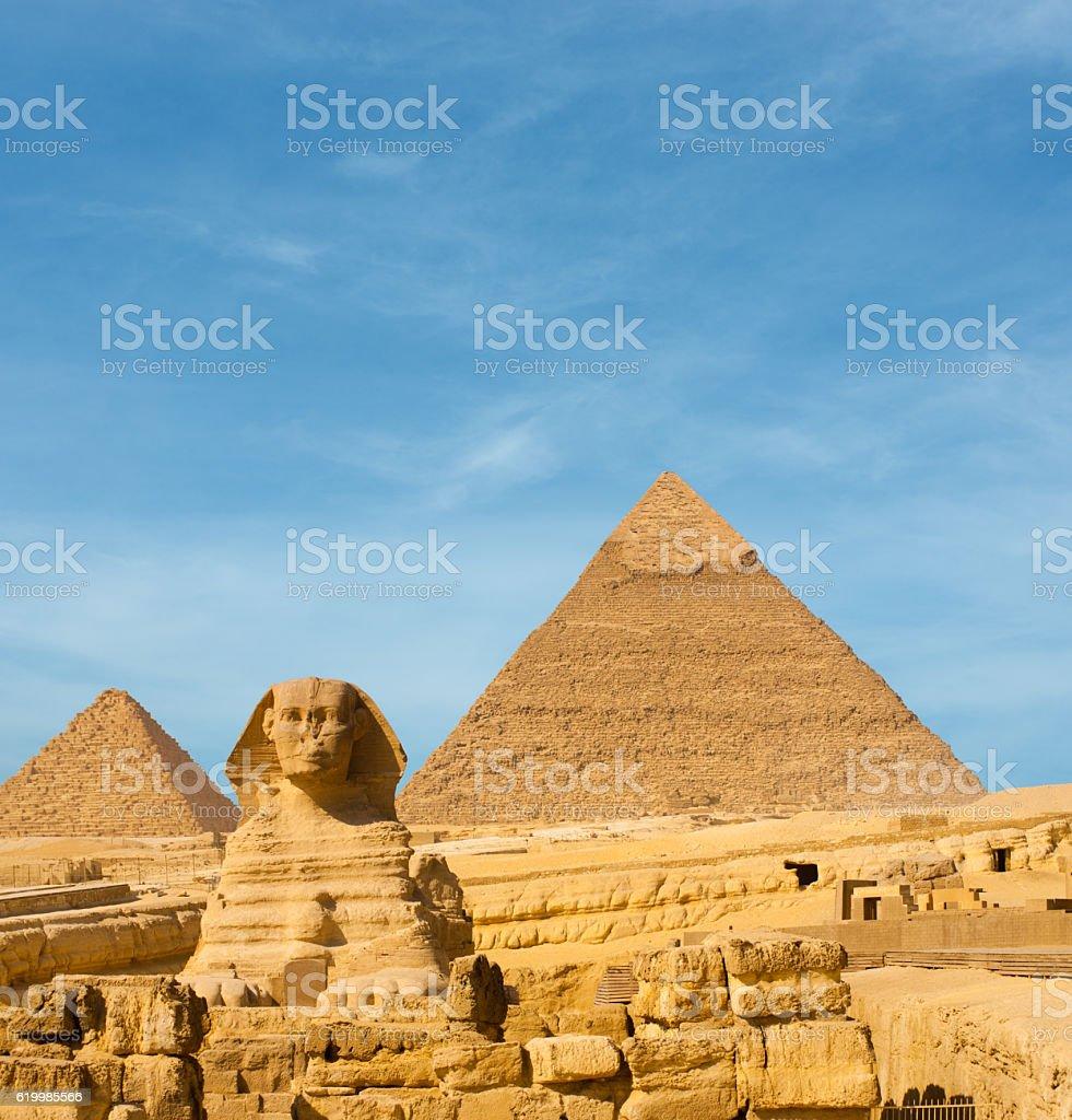 Sphinx Front Facing Giza Egypt Pyramids Khafre stock photo