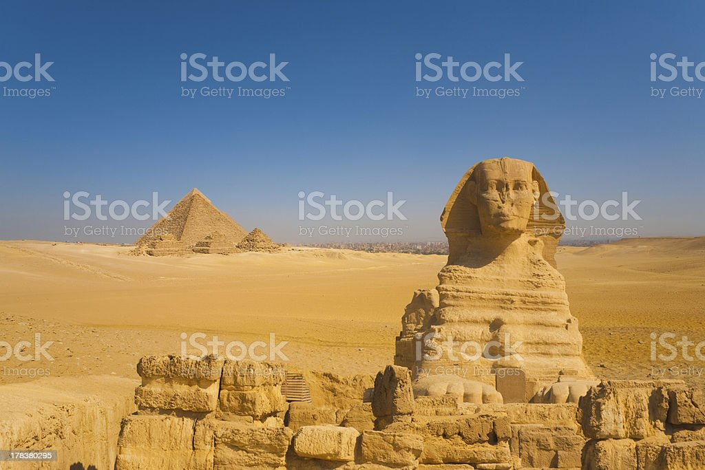 Sphinx Front Pyramids Desert Cairo Background royalty-free stock photo