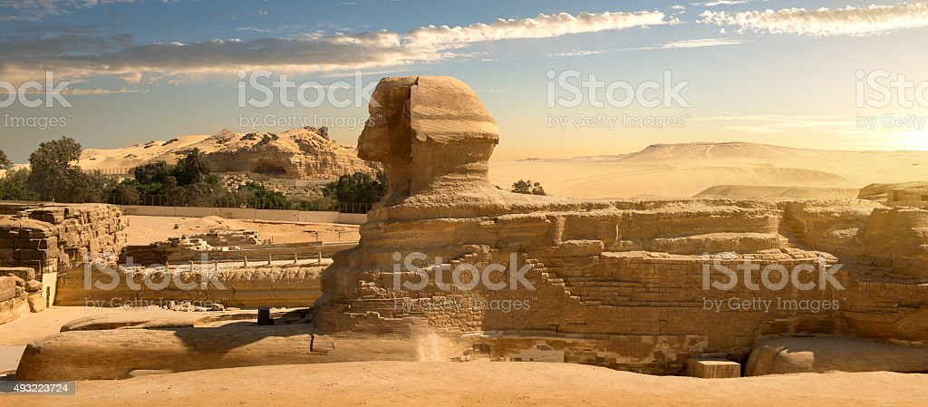 Sphinx in desert stock photo