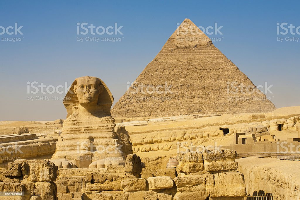 Sphinx Khafre Giza Pyramids Classic stock photo