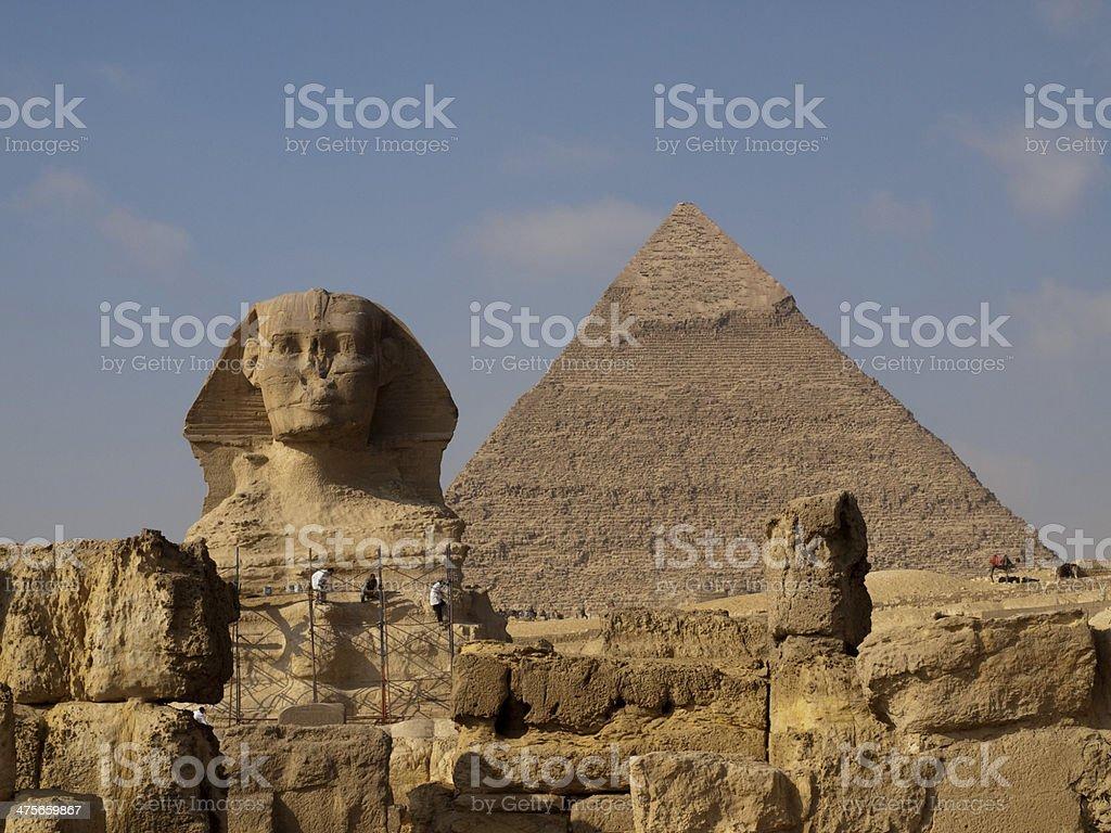 Sphinx Khafre Giza Pyramids Classic royalty-free stock photo