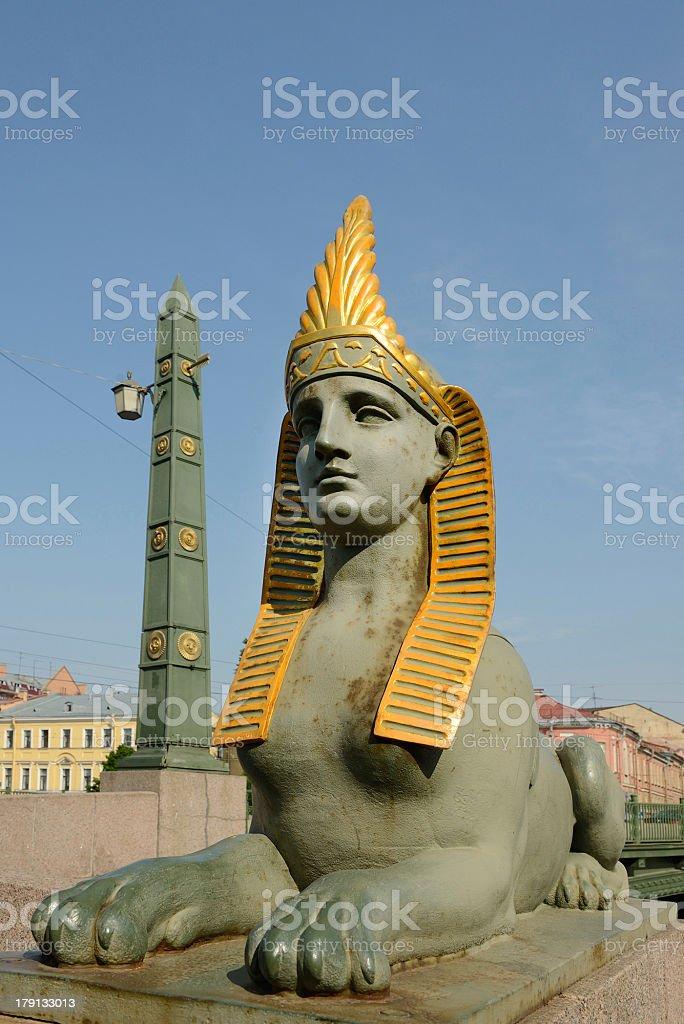 Sphinx of Egyptian bridge over Fontanka river royalty-free stock photo