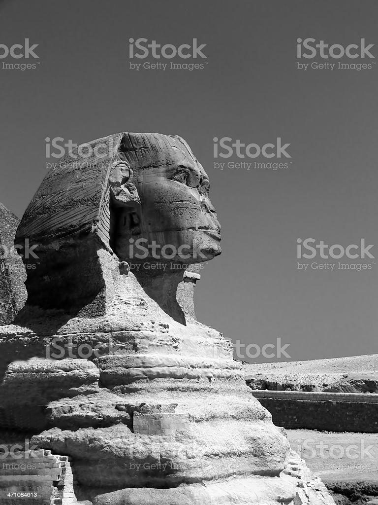 Sphinx of Giza B&W stock photo