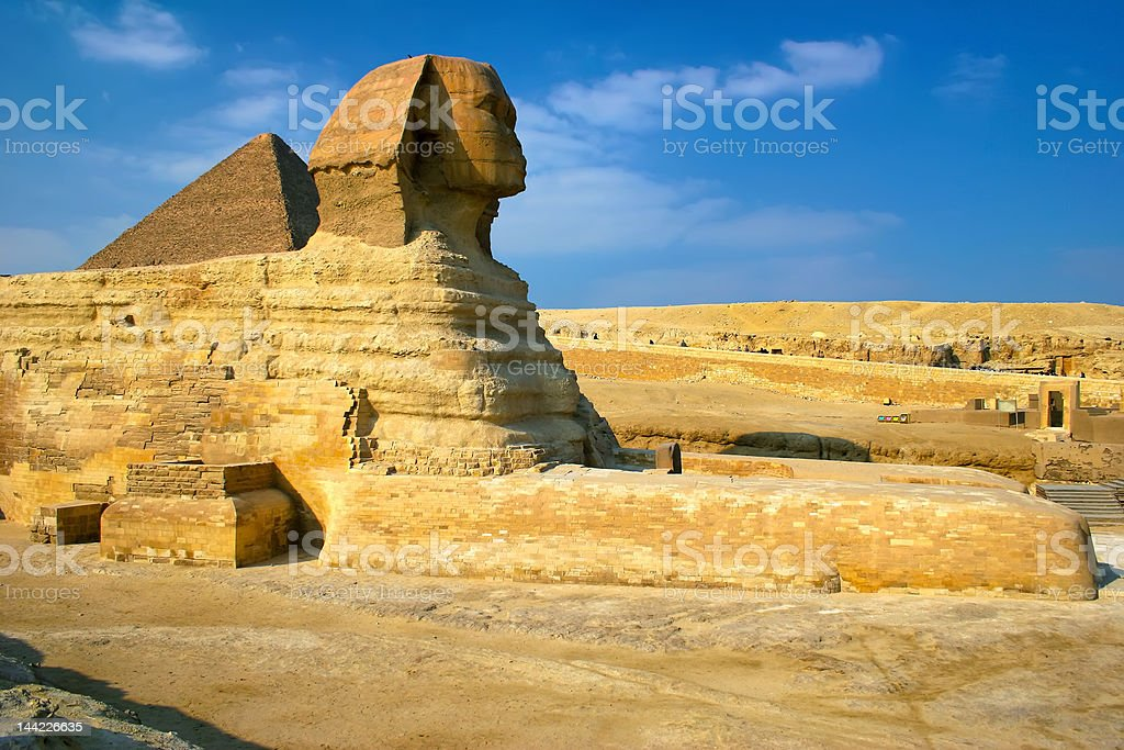Sphinx & pyramid royalty-free stock photo