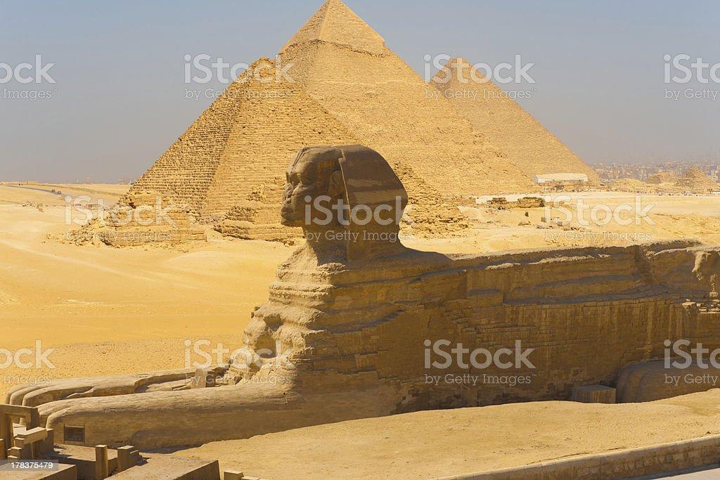 Sphinx Side View Pyramids Giza Composite stock photo