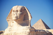 Sphinx with Great Pyramid Giza Egypt Blue Sky