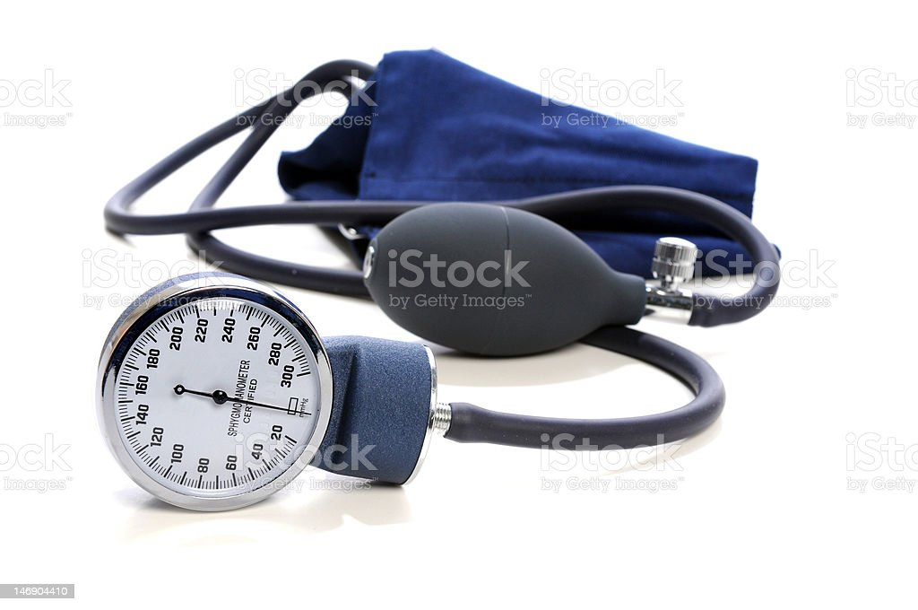 Sphygmomanometer Over White Background stock photo