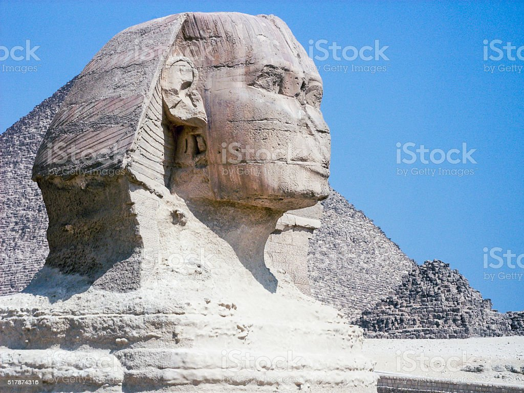 Sphynx head in Giza, Egypt stock photo