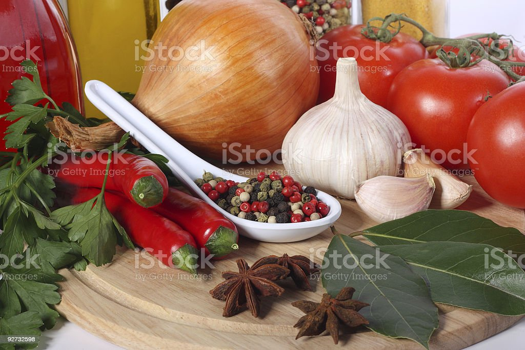 Spice and vegetables royalty-free stock photo