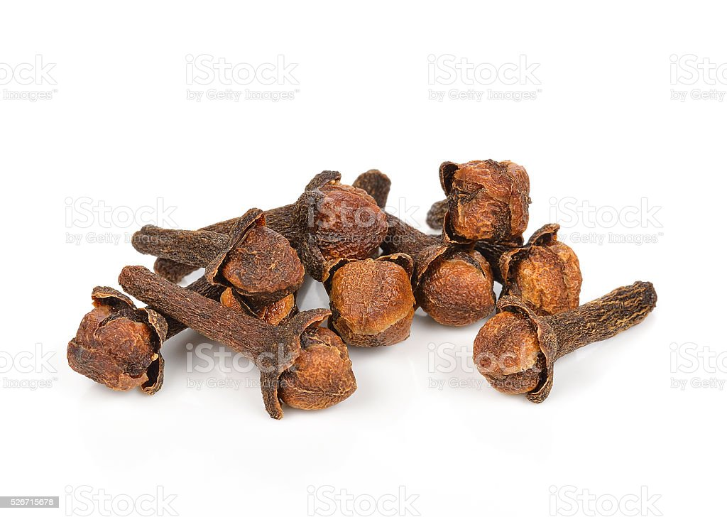 Spice cloves on white background stock photo