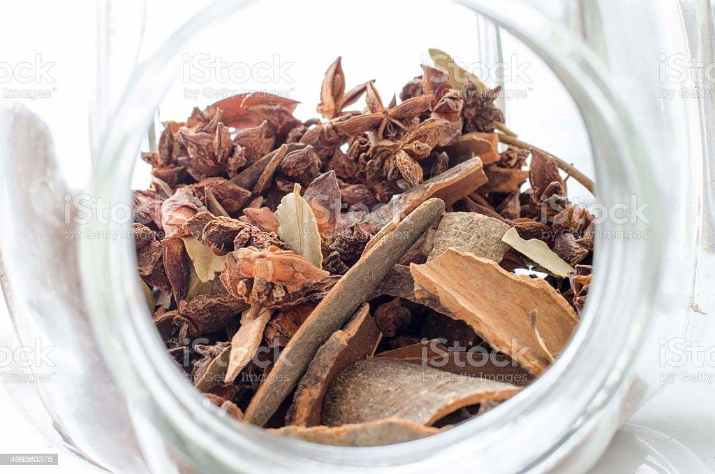 spice in glass pot stock photo