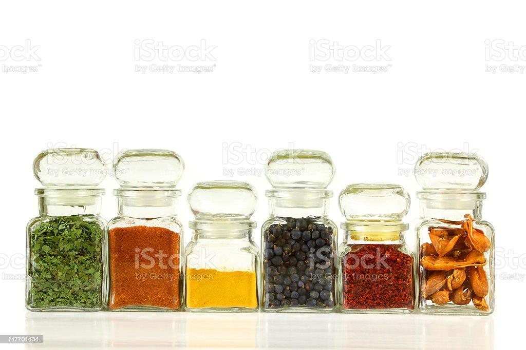 Spice jars stock photo