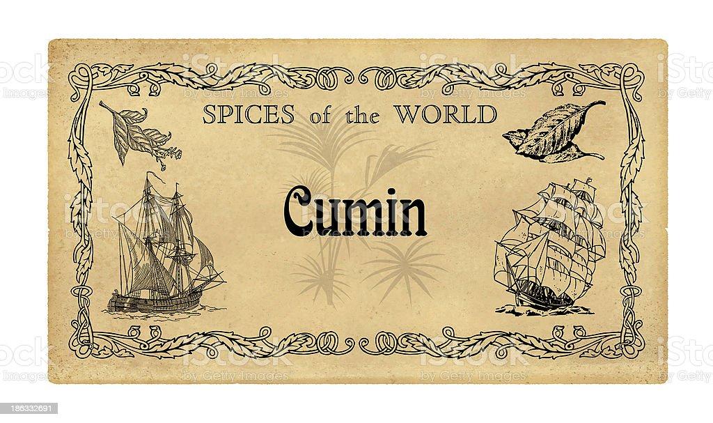 Spice label Cumin royalty-free stock photo
