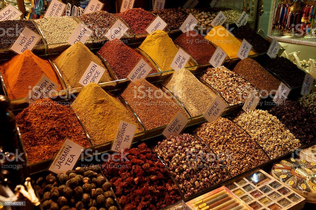 spice market in Egyptian Bazaar istanbul stock photo