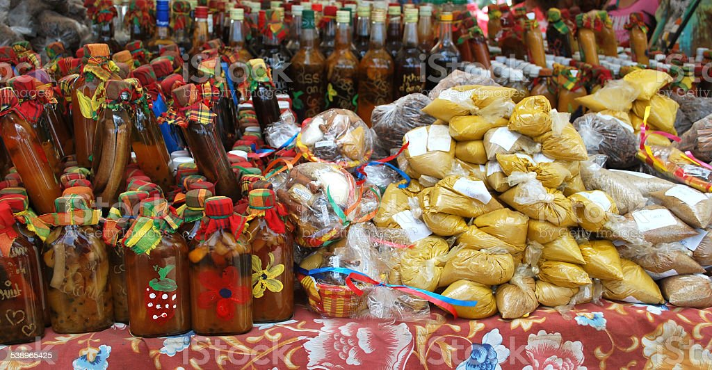 Spice Market in Marigot Town, St. Martin stock photo