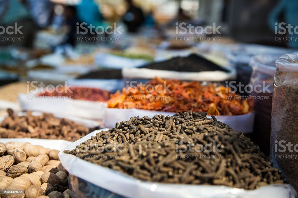 Spice, nut and grain market stall stock photo