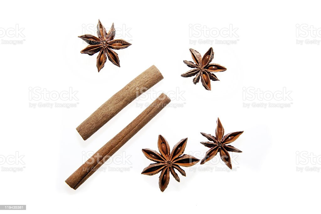 Spice of cinnamon and star anise against white background royalty-free stock photo