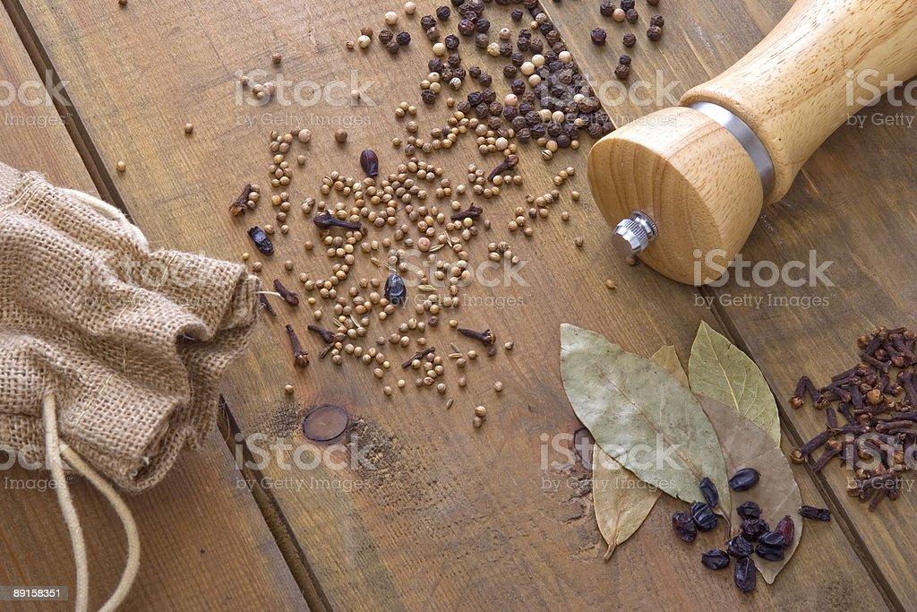 Spice on the wooden table stock photo
