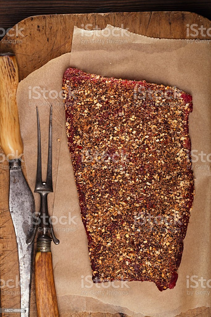 spice rubbed raw  beef fillet stock photo