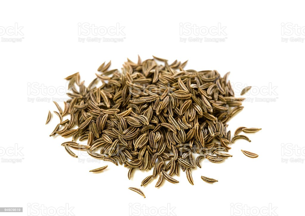spice series - caraway (cumin) isolated on white stock photo