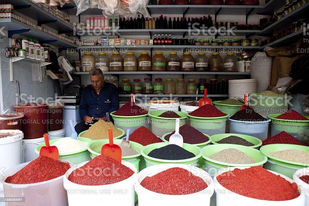 Spice shop in Antakya, Turkey stock photo