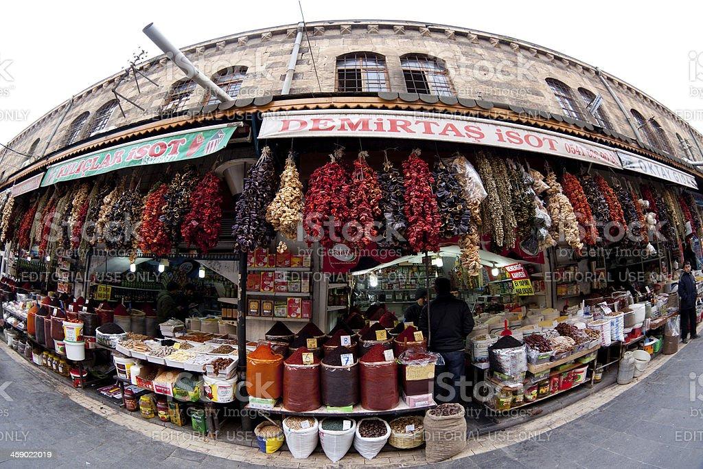 Spice shops in old bazaar of Sanliurfa, Turkey royalty-free stock photo