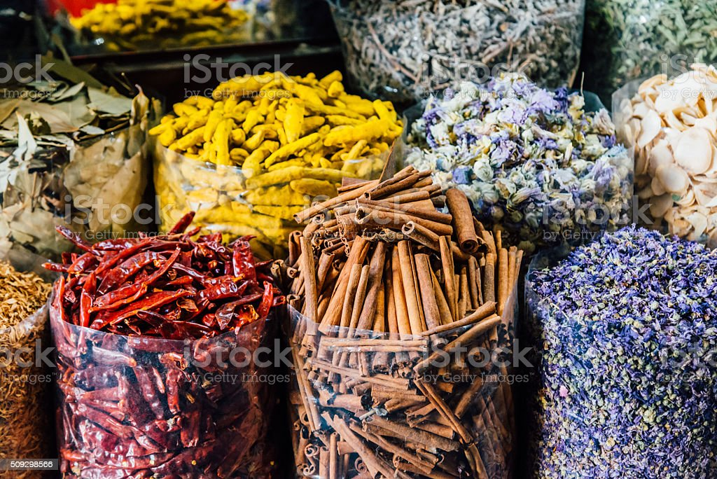 Spice souk in Dubai stock photo