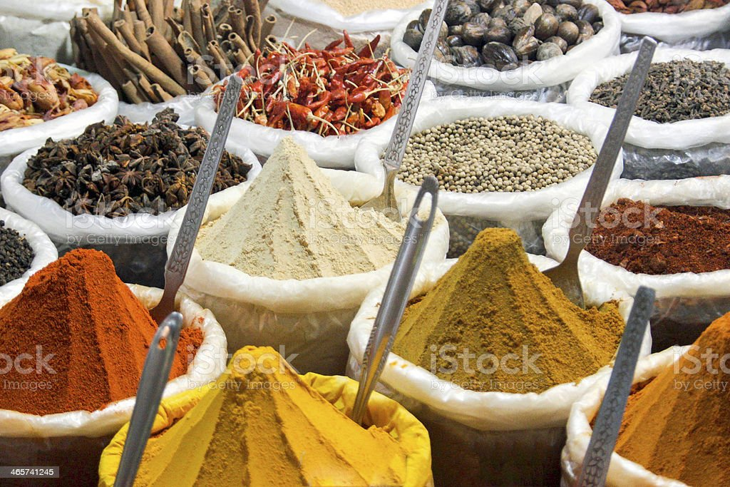 Spice stall at Anjuna Market Goa India stock photo