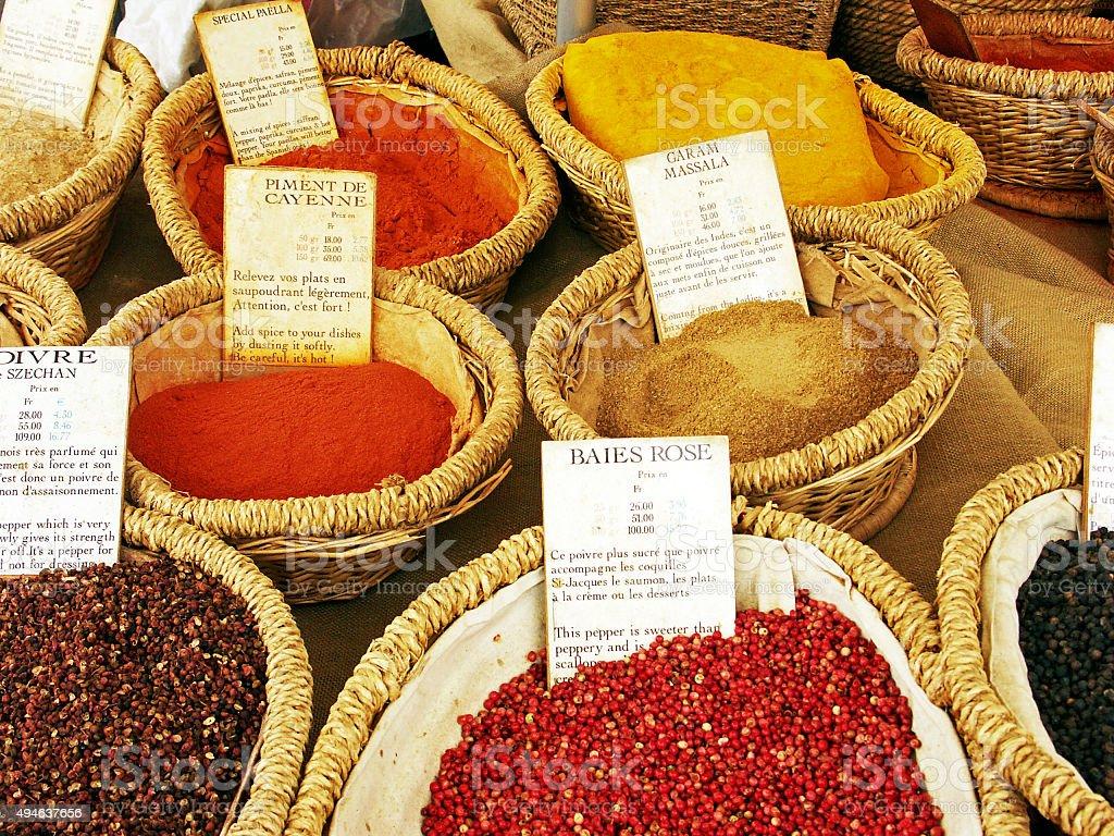Spice stall with cayenne, sechuan pepper ,pink peppercorn,garam massala stock photo