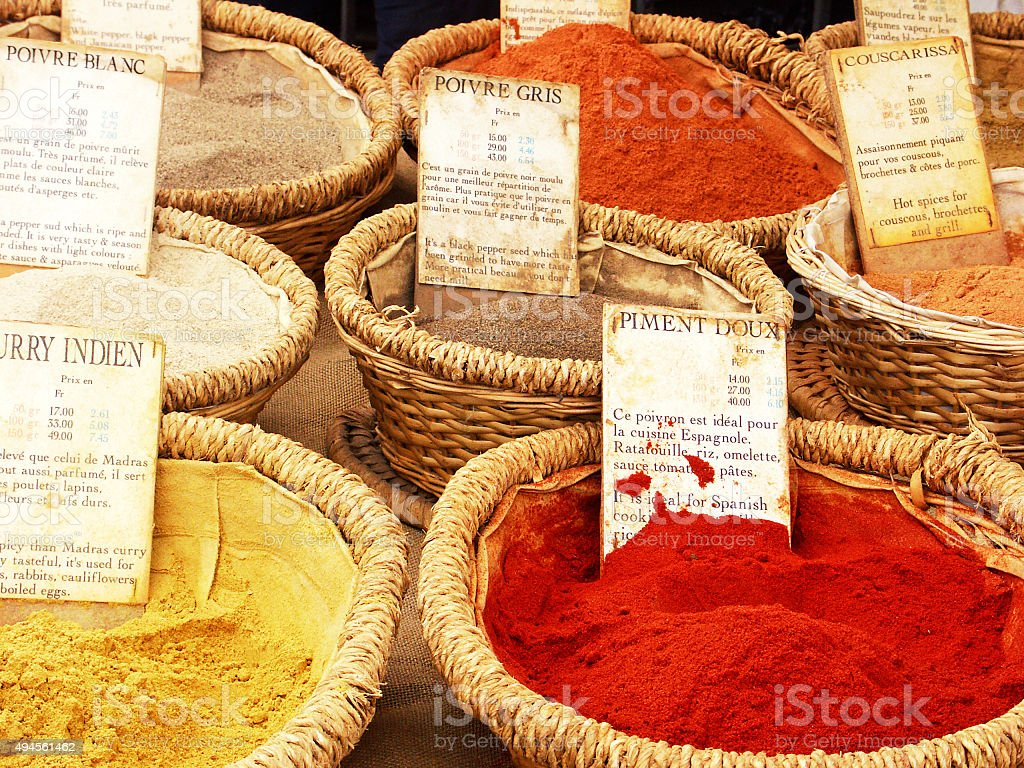 Spice stall with oriental spices in the French Provence stock photo