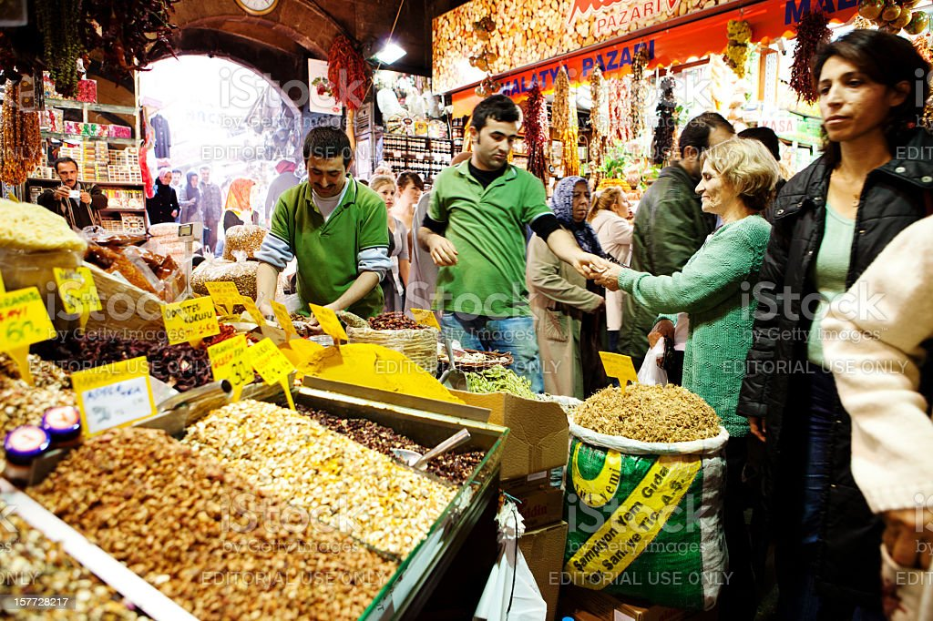 Spice stand at the Grand Bazaar stock photo