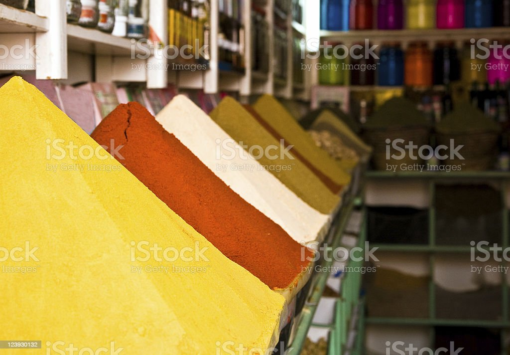 Spice store in Marrakech stock photo