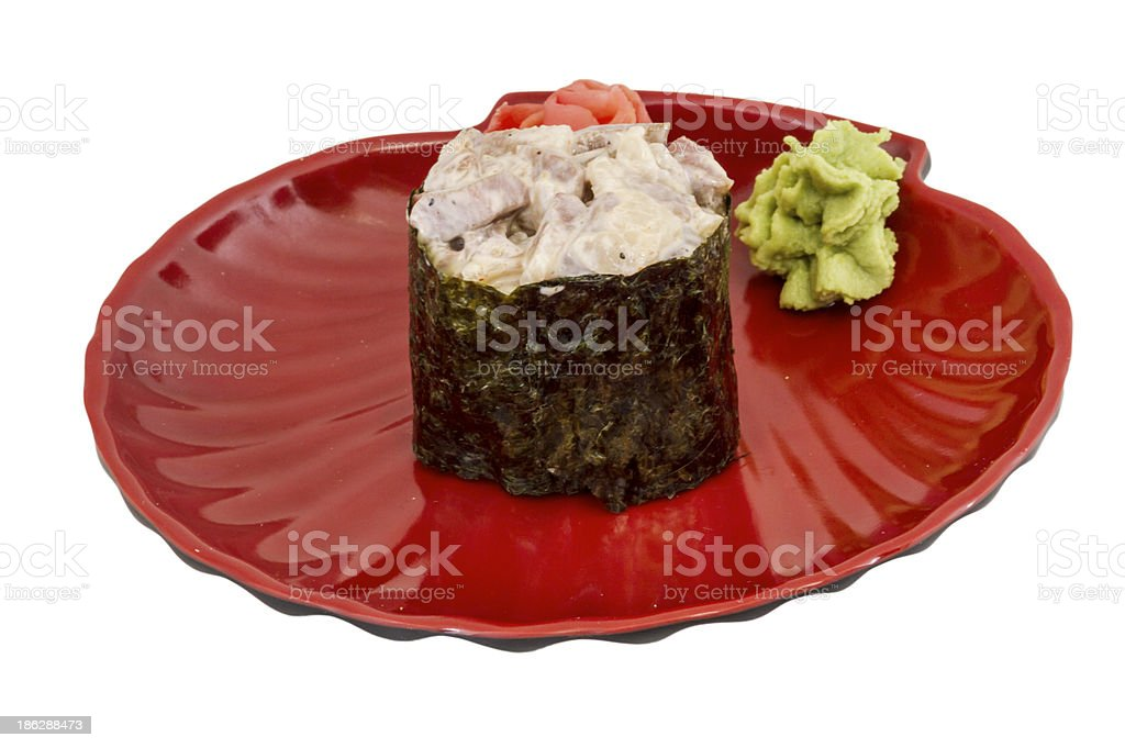 spice sushi with sauced slices of smoked Eel, chicken royalty-free stock photo