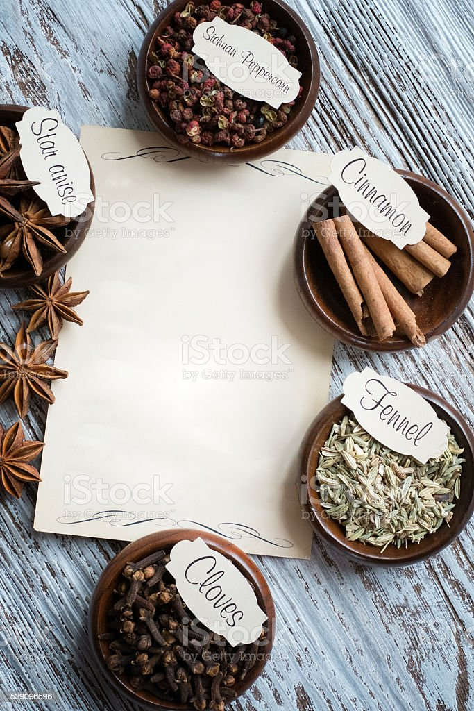 Spice with Empty sheet paper for your text stock photo