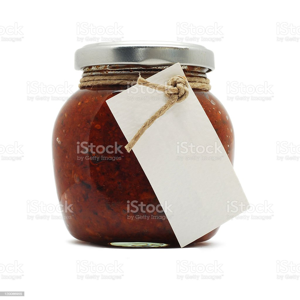 jam jar with empty label isolated on white