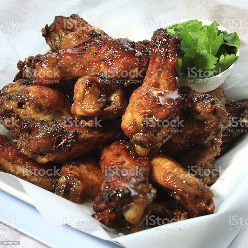 Spiced Chicken Drumettes stock photo